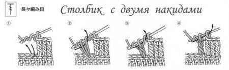 Как вязать столбик с двумя накидами крючком