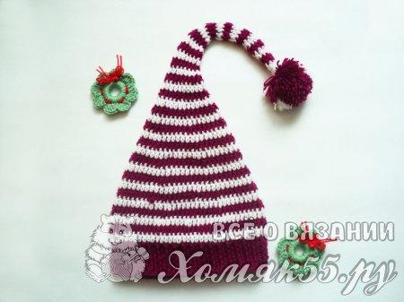 Рождественский колпак крючком