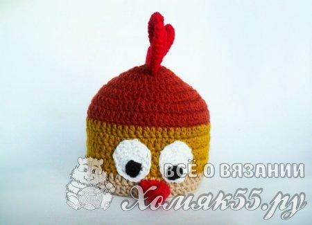 Детская шапочка «Петушок» крючком