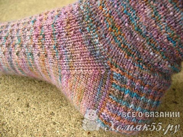 Вязание пятки на носках спицами схема 50